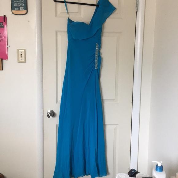 Nina Austin Dresses Blue One Shoulder Beaded Dress